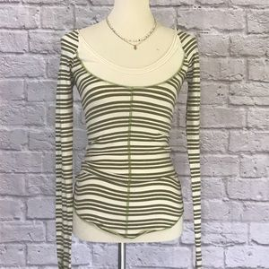 Free People Green/cream long sleeve T size small